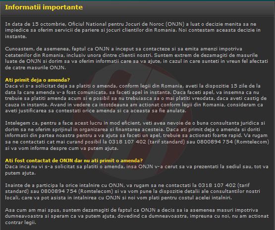 Bet365 oferta ajutor celor care au primit amenzi sau/si sunt chemati la ONJN