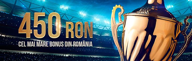 Cel mai mare bonus la pariuri sportive din Romania - 450 RON