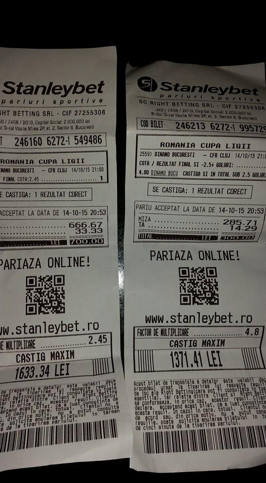 Bilete Pariuri : Un Dinamovist a fost curajos,a mizat 1100 lei pe echipa lui de suflet !