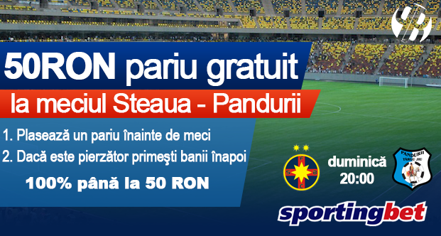 Pariuri online - 50 ron BONUS la Steaua vs Pandurii