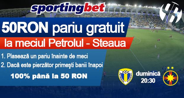 50 RON pariu gratuit la meciul Petrolul – Steaua