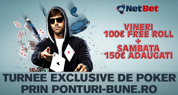 NetBet : Turnee de poker exclusive cititorilor Ponturi-Bune