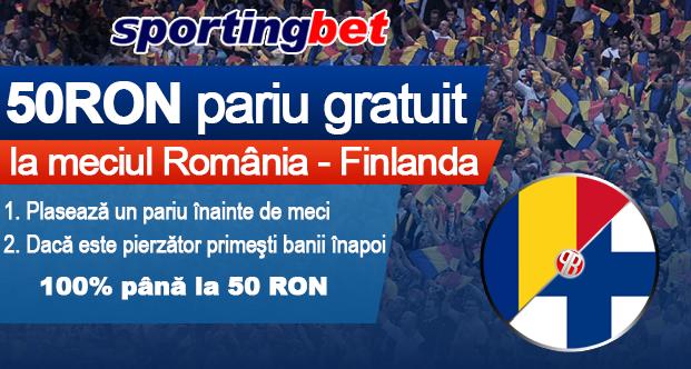 Pariu gratuit de 50 RON la Romania – Finlanda