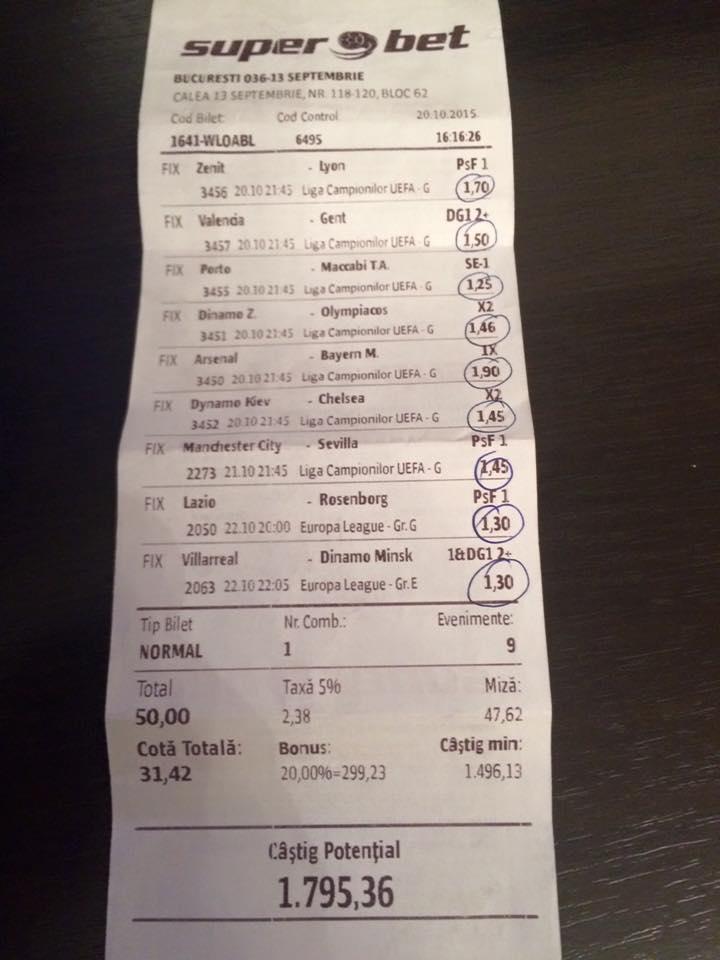 Bilete Pariuri : Champions League & Europa League a fost combinatia perfecta pentru un parior !
