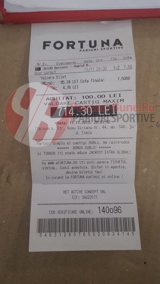 Bilete Pariuri : Un parior a mizat 100 ron pe scor corect la un meci din Liga 2 Romania !