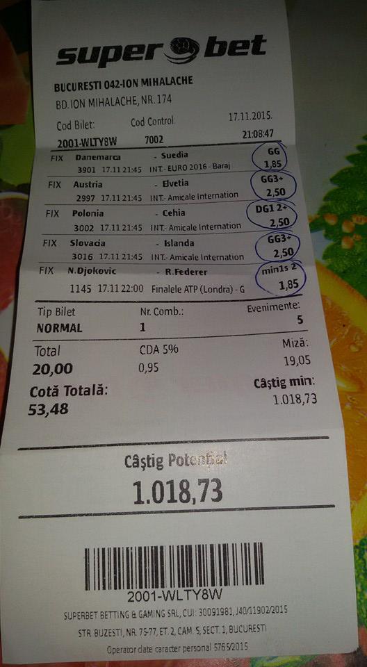 Bilete Pariuri : Un parior din Bucuresti a fost norocos !
