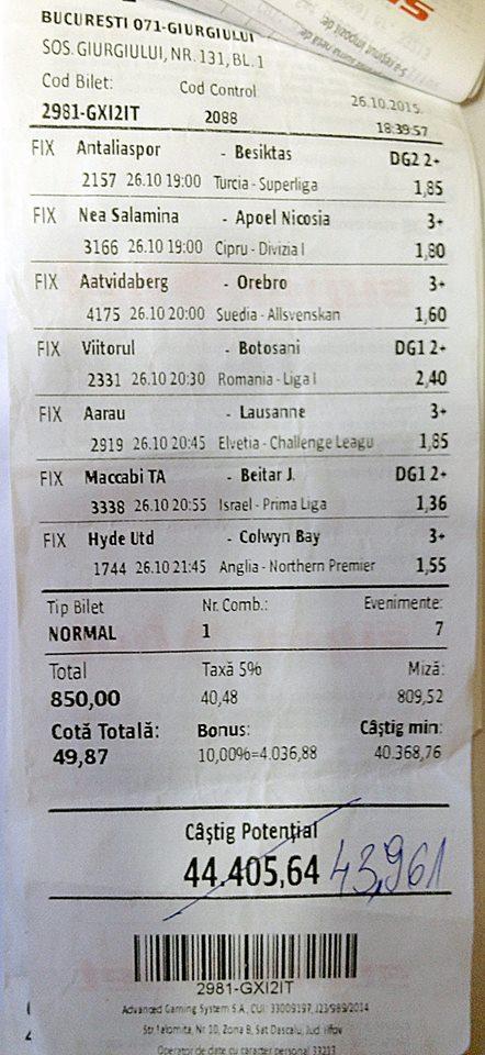 Bilete Pariuri : Un parior a dat lovitura cu o miza de 850 ron !