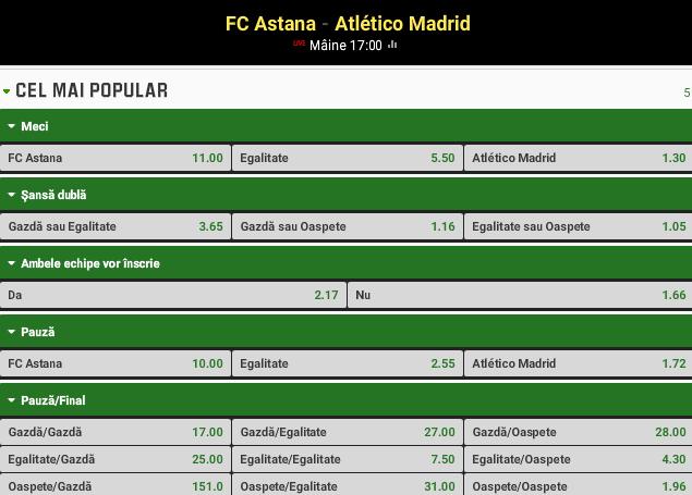 Astana vs Atletico Madrid