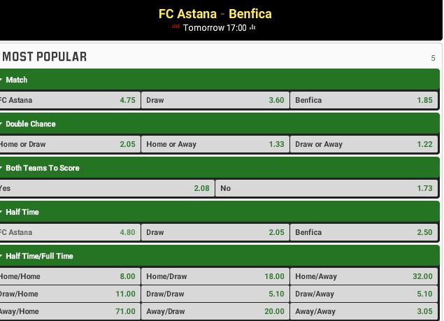 Astana vs Benfica