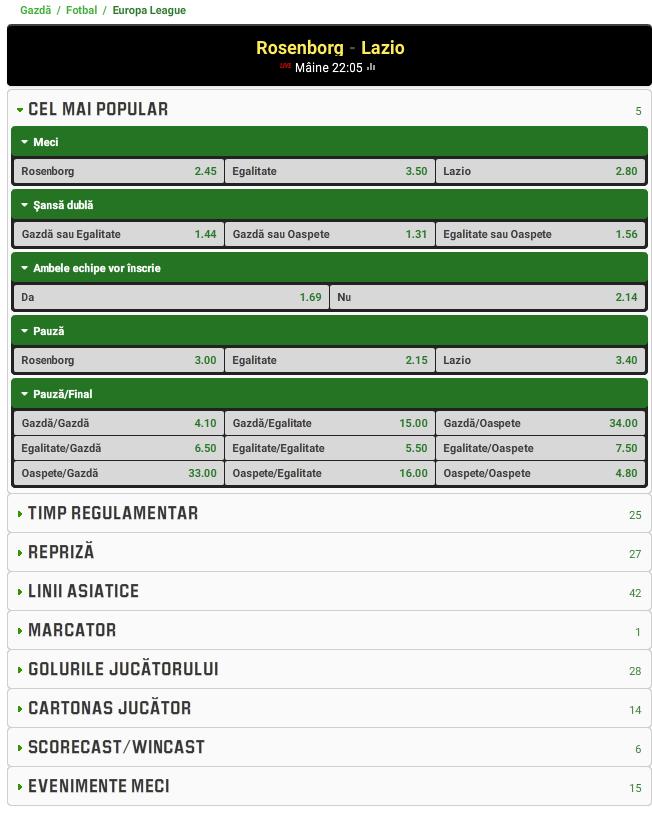 Rosenborg vs Lazio
