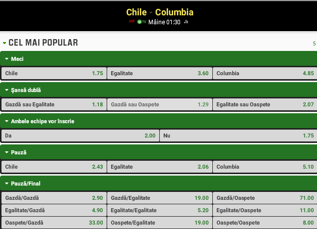Chile vs Columbia