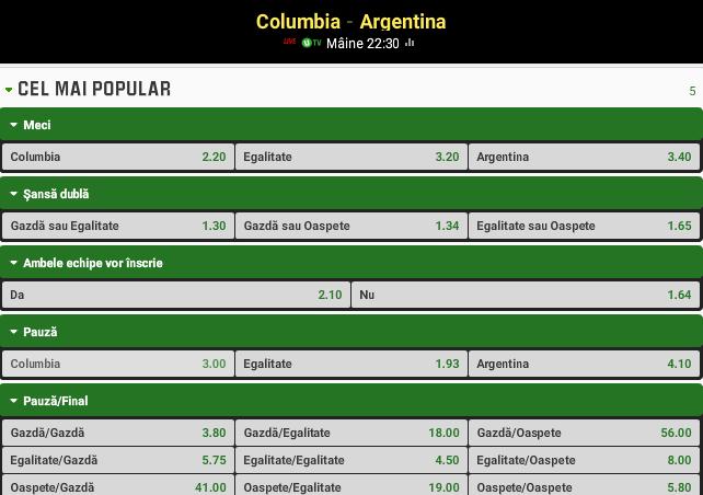 Columbia vs Argentina