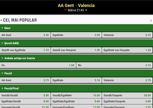Gent vs Valencia