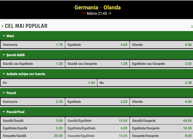 Germania vs Olanda