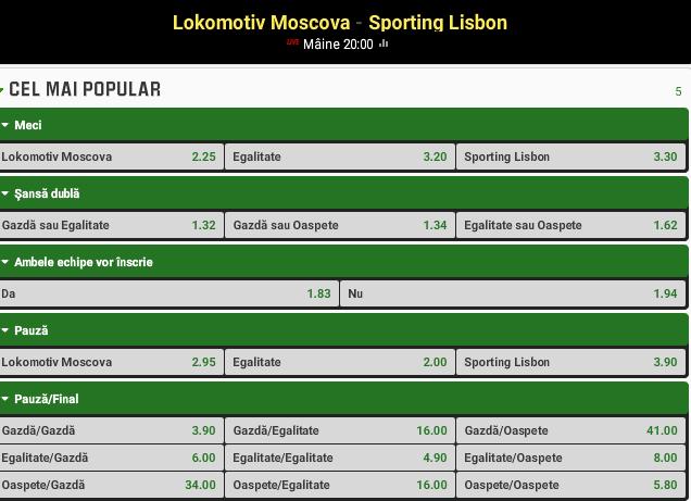 Lokomotiv Moscova vs Sporting Lisabona