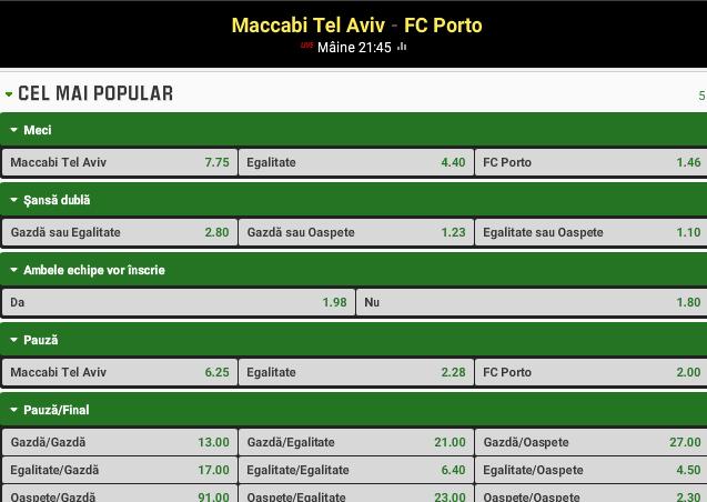 Maccabi vs Porto