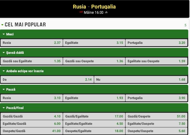 Rusia vs Portugalia
