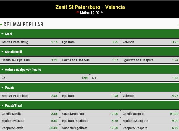 Zenit vs Valencia