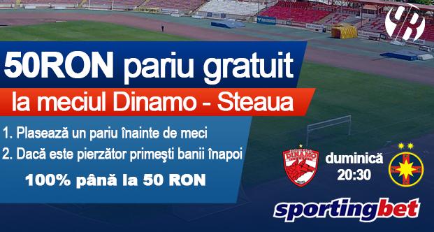 50 RON pariu gratuit la Dinamo - Steaua