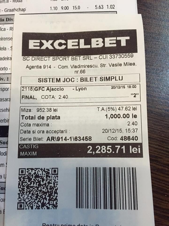 Bilete Pariuri : Un parior a mizat 1000 lei pe un meci de fotbal !