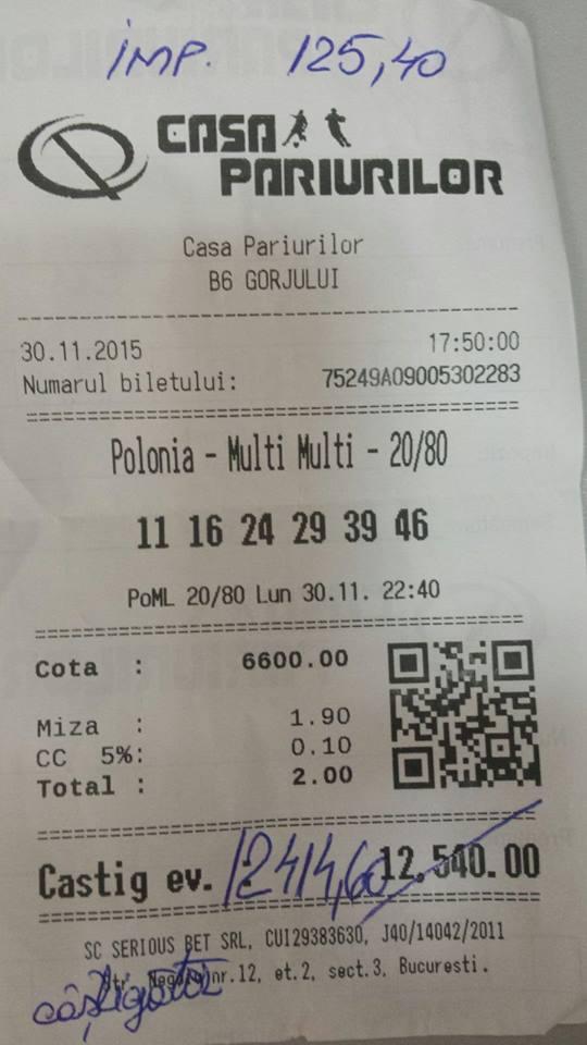 Bilete Pariuri : Un parior a prins cota 6600 la loto !