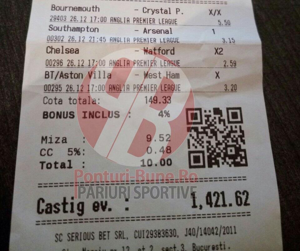 Bilete Pariuri : Un Roman a fost inspirat cu Premier League !