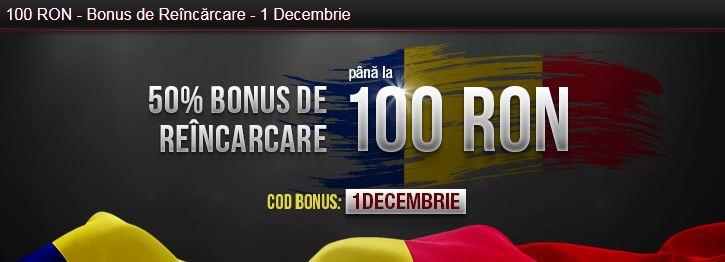 100 Ron Bonus de reincarcare la pariuri online