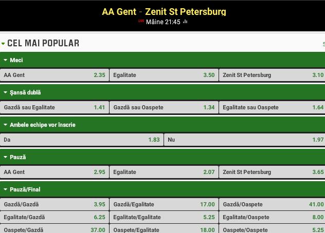 Gent vs Zenit