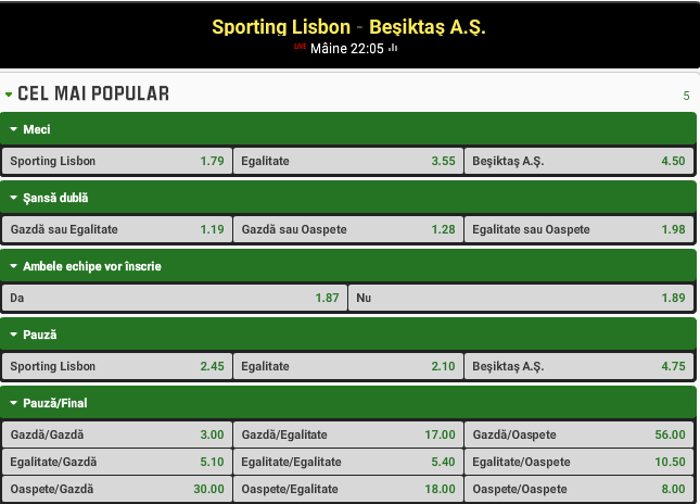 Sporting Lisabona vs Besiktas