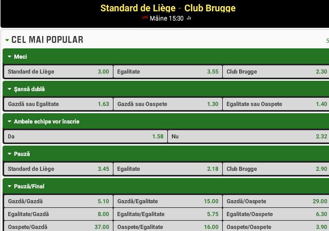 Standard Liege vs Club Brugge