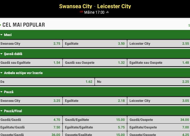 Swansea vs Leicester