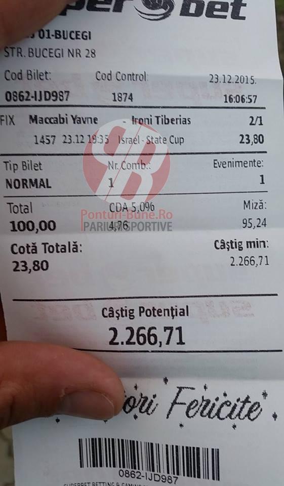 Bilete Pariuri : Un Roman din Oradea a mizat 100 ron pe un meci 1 pauza 2 final !