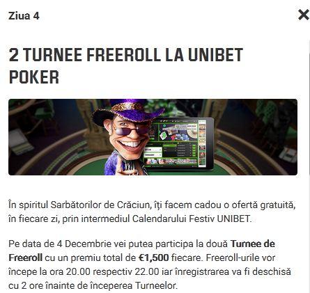 calendarul festiv - turnee poker freeroll gratuite