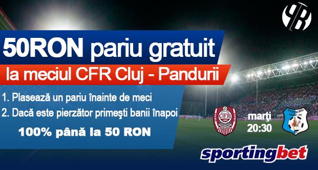 Pariu 100% gratuit de 50 RON la CFR Cluj vs Pandurii