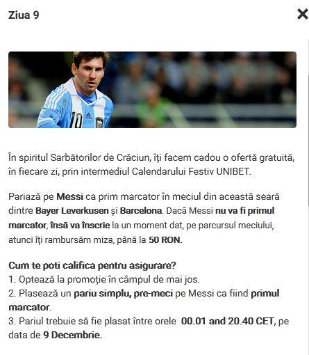Asigurare la pariuri online – Messi marcator