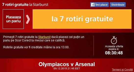 Meciul zilei – Olympiakos vs Arsenal, pariaza si ia rotiri gratuite