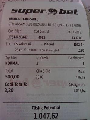 Bilete Pariuri : Un parior a mizat 500 ron pe un meci din Liga 1 !