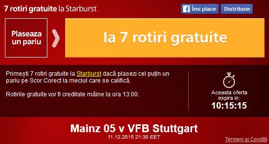 Meciul zilei – Mainz vs Stuttgart – pariaza si ia 7 rotiri gratuite