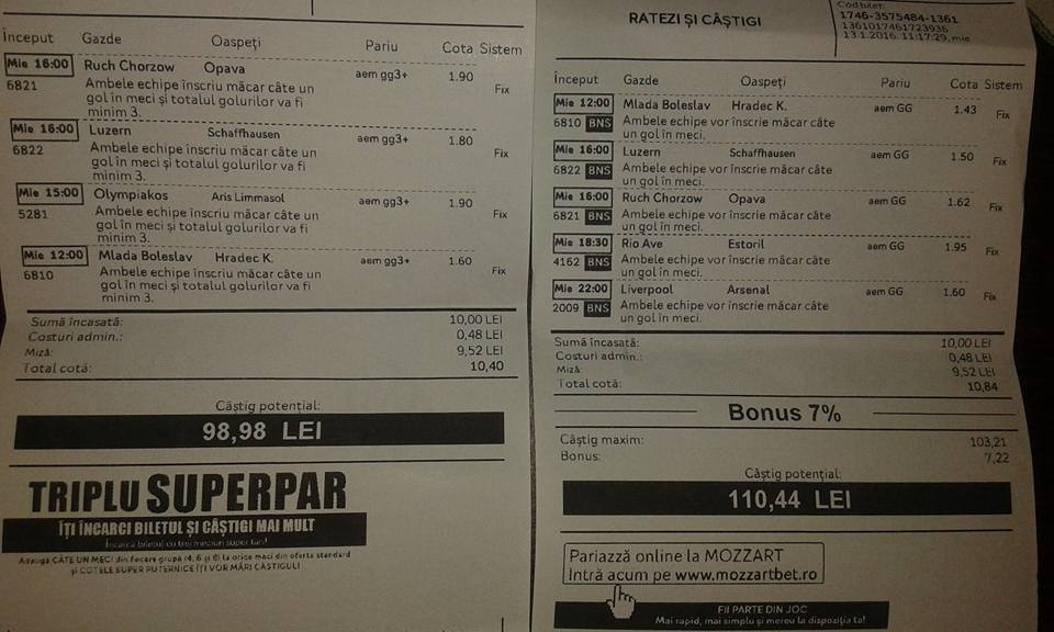Biletul Zilei : Madalin propune 2 bilete !