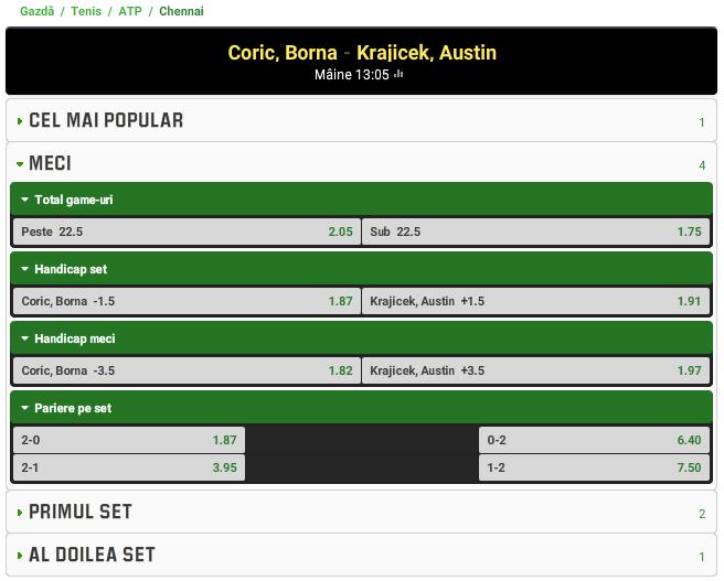 Borna Coric vs Austin Krajicek