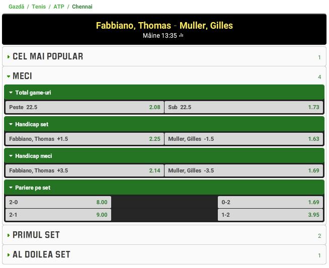 Thomas Fabbiano vs Gilles Muller