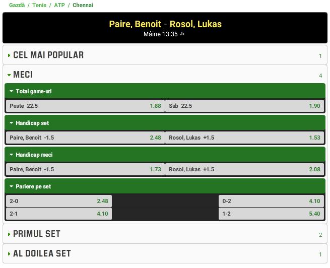Benoit Paire vs Lukas Rosol
