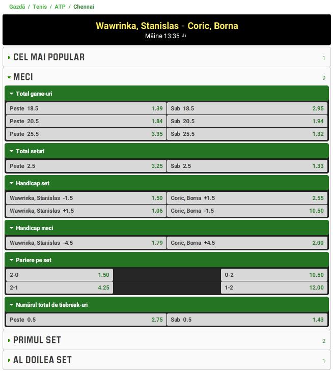 Stan Wawrinka vs Borna Coric