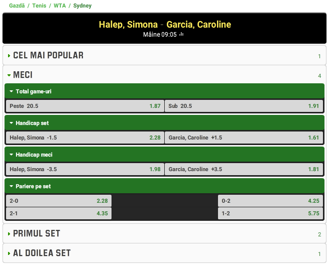 Simona Halep vs Caroline Garcia