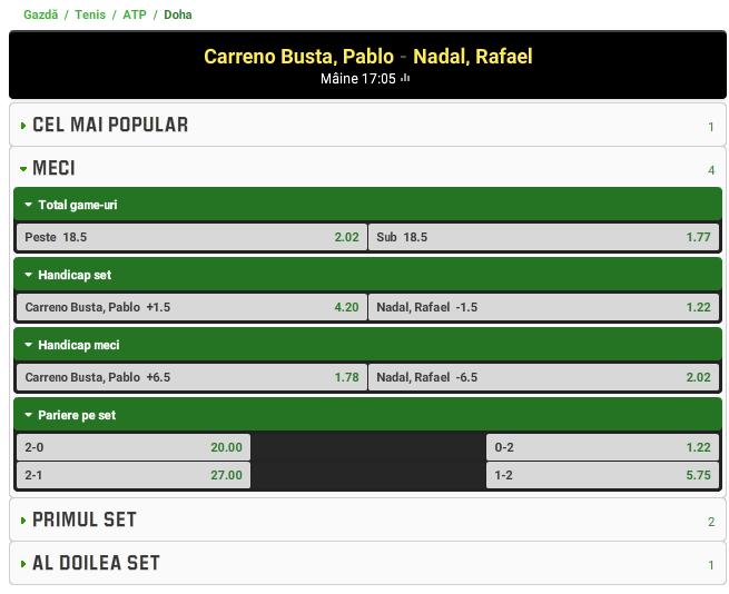Pablo Carreno-Busta vs Rafael Nadal