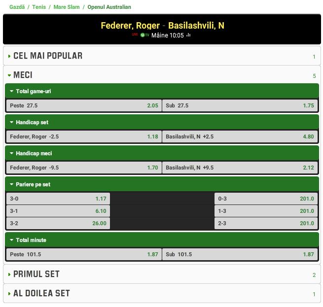 Roger Federer vs Nikoloz Basilashvili