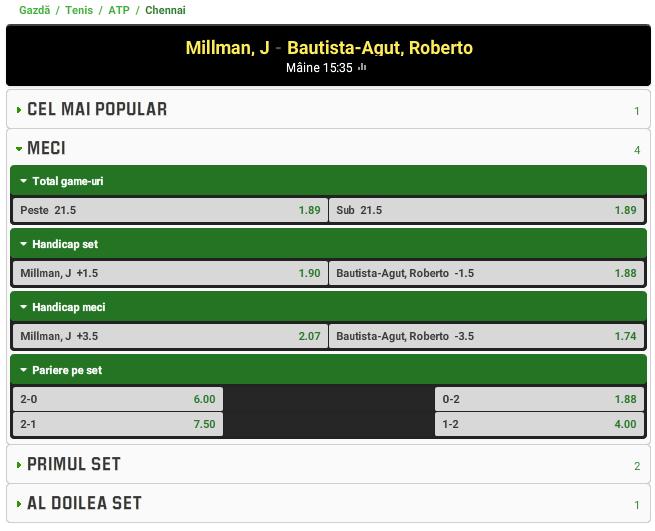 John Millman vs Roberto Bautista Agut