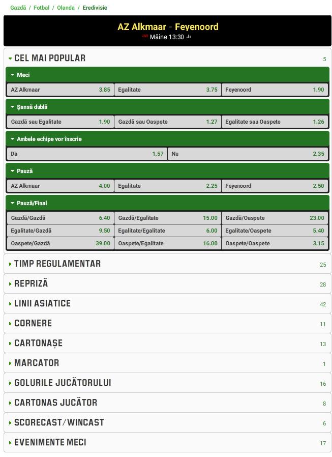 AZ Alkmaar vs Feyenoord