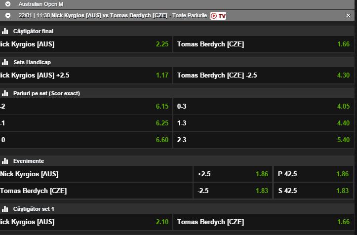 Kyrgios vs Berdych