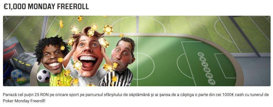 A revenit Monday Freeroll cu premii de €1000 la Unibet